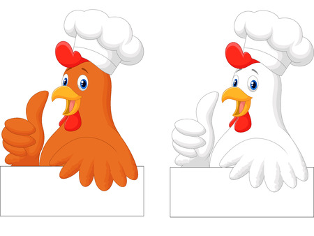 chicken wing: Rooster chef cartoon giving thumb up
