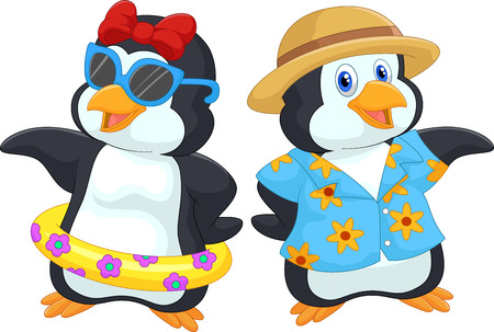 happy couple beach: Cute cartoon penguin in summer holiday Illustration