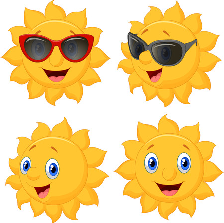 Happy sun cartoon character Ilustração