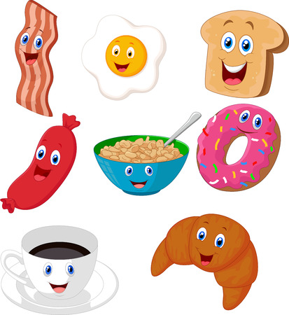 Breakfast cartoon collection Vector