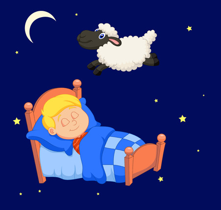 laying little: Boy counting sheep Illustration