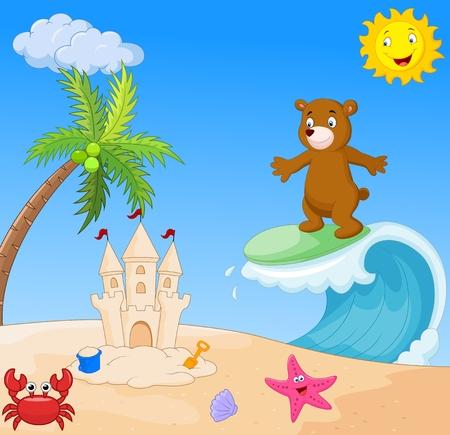 teddybear: Happy bear cartoon surfing