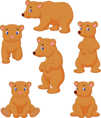 Cute brown bear cartoon collection Vector