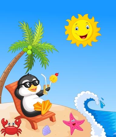 Cute penguin sitting on beach chair Vector