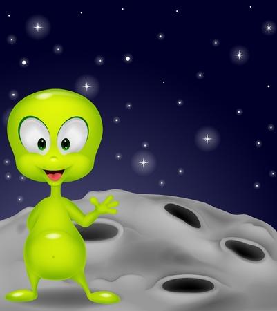 Cute green alien waving hand Vector