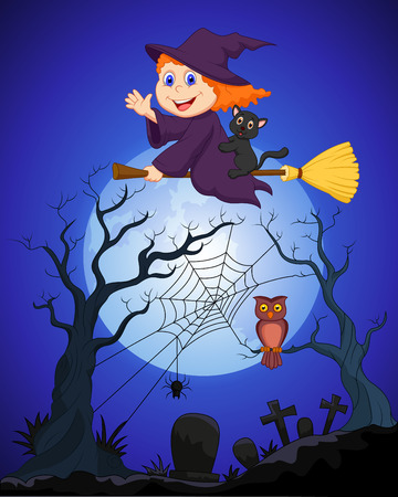 The witch flying on a broom on a full moon over the cemetery Vector