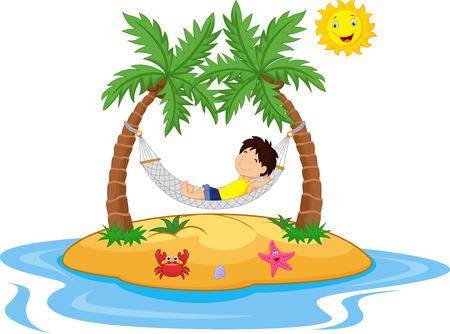 Chłopiec relaks w hamaku Ilustracje wektorowe