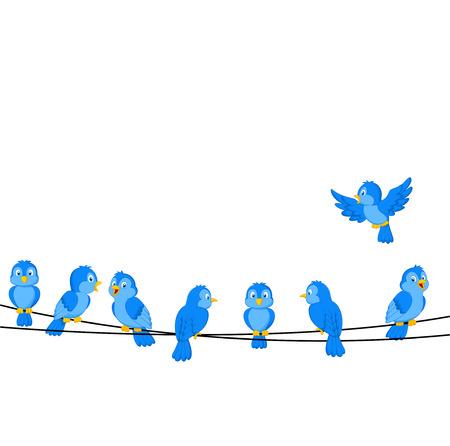 bluebird: Cartoon blue bird on wire Illustration