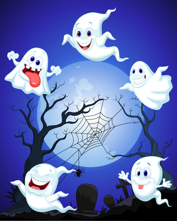 ghost character: Scene with Halloween ghost