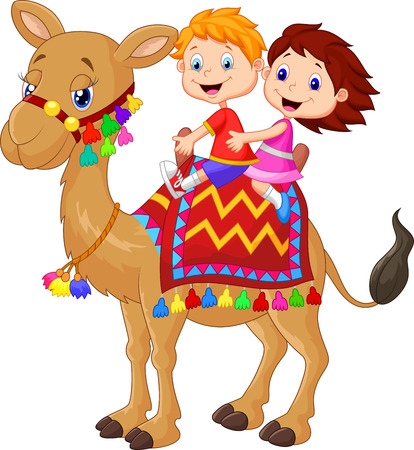 Little kid riding decorated camel Vector