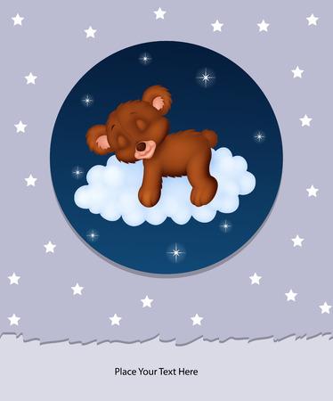 home birth: Baby bear sleeping on cloud