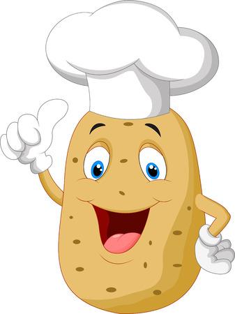 Potato cocinero entrega de dibujos animados pulgar hacia arriba