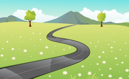 Beautiful view of the paved road Vector