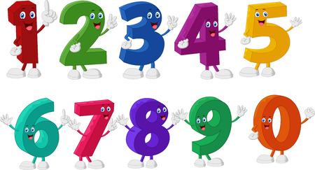 numero uno: Números divertidos de la historieta Caracteres Vectores