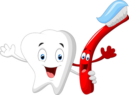 Dental Tooth and Toothbrush cartoon character Vettoriali
