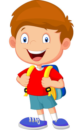 happily: Boy with backpacks Illustration