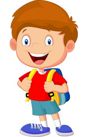 joyfulness: Boy with backpacks Illustration