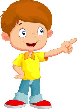 Petit garçon pointant vers l'extérieur Illustration