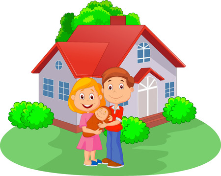 family in front of house: Cartoon Young couple with newborn son in front of the house