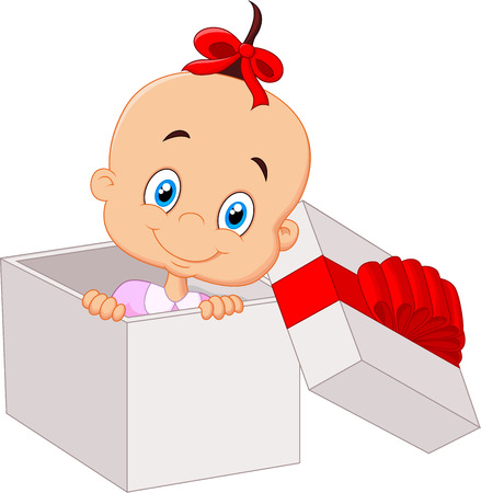 christmas room: Little baby girl cartoon inside open gift box Illustration