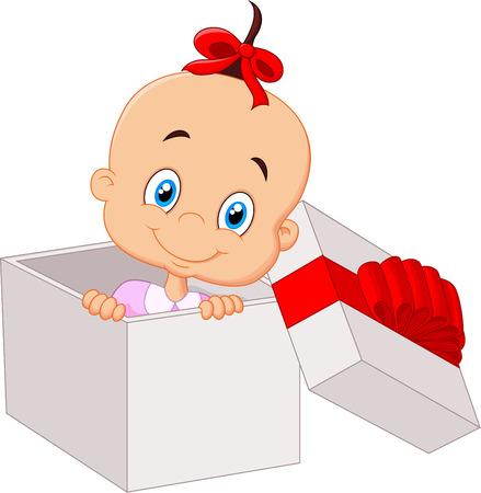 Little baby girl cartoon inside open gift box Vettoriali