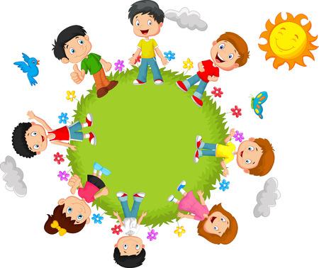 playmates: Caricatura de niños felices Vectores