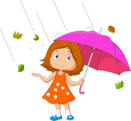dessin animé fille avec le parapluie Vecteurs
