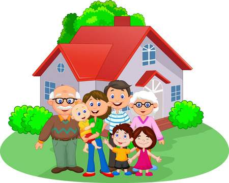 family in front of house: Happy cartoon family Illustration
