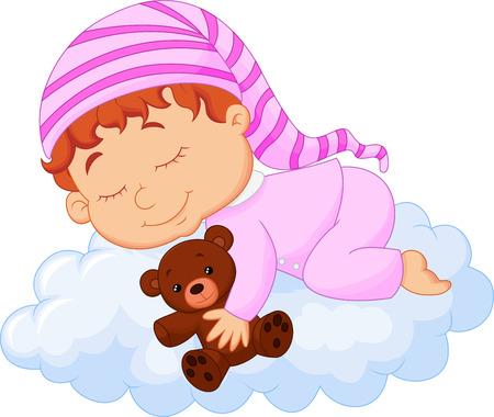 newborn baby mother: Baby cartoon sleeping on the cloud Illustration