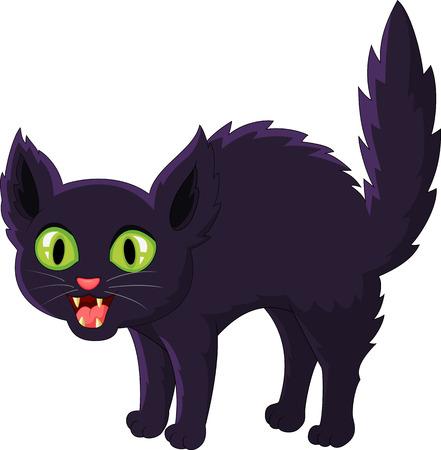 Frightened cartoon black cat Illustration