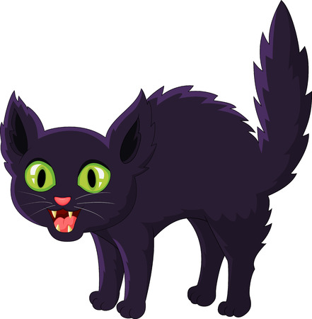 Frightened cartoon black cat Иллюстрация
