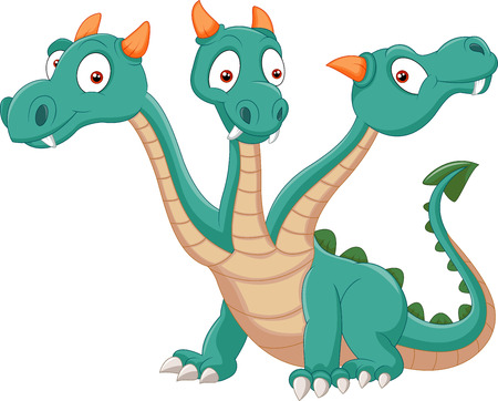 headed: Carino tre headed dragon cartoon Vettoriali