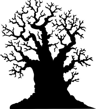 gnarled: Silhouette of leafless oak tree cartoon Illustration