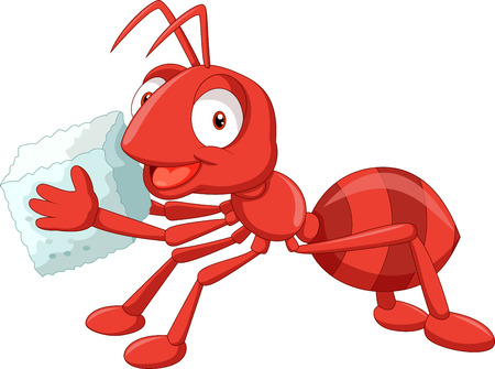 red ant: Cartoon red ant carrying sugar