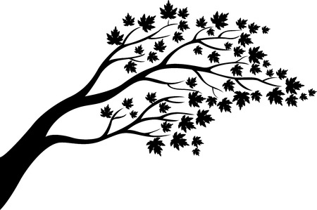 bareness: Maple tree silhouette cartoon
