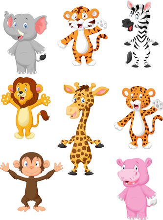 A collection of 8 African animals cartoon