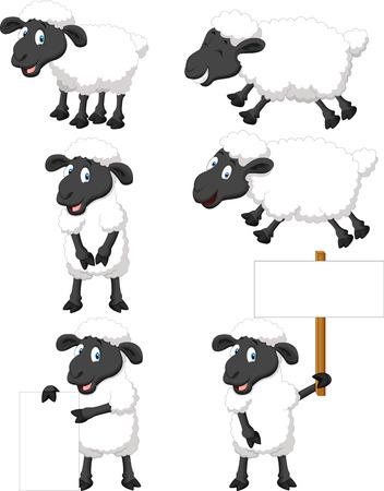 Cute cartoon sheep collection set
