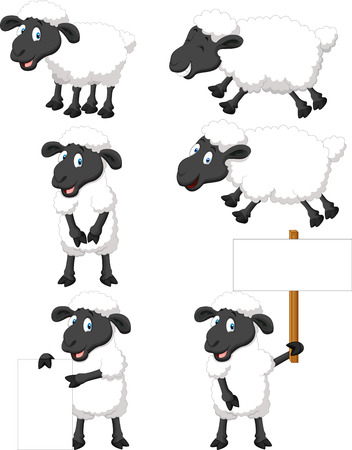 Cute cartoon sheep collection set