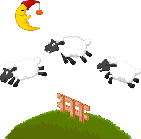woolly: Three Funny Sheep cartoon Jumping Over A Fence