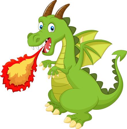 Dragón de dibujos animados con el fuego