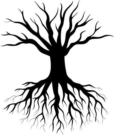 Tree silhouette cartoon Vector