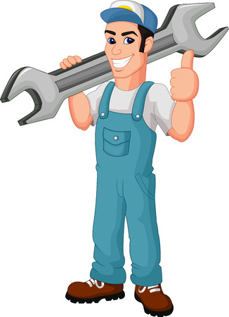 Funny mechanic cartoon holding wrench and giving thumbs up Vector