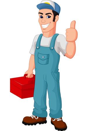 ingeniero caricatura: Mecánico de dibujos animados amistoso con caja de herramientas que da los pulgares para arriba