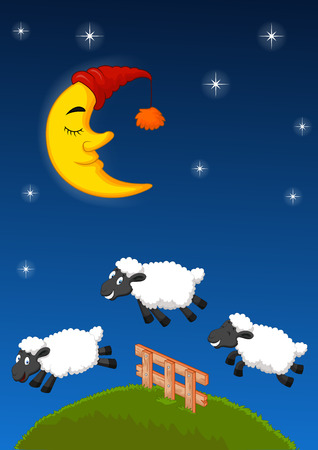 Three sheep Cartoon jumping over the fence. Vector