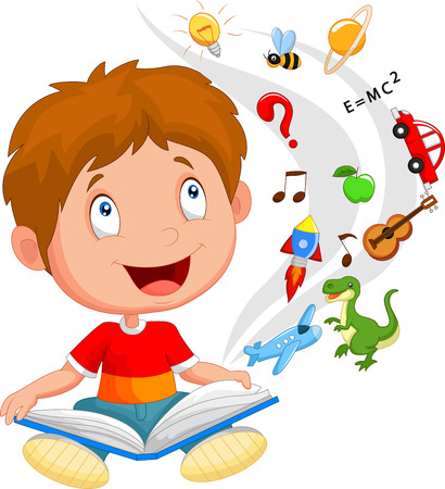Little boy cartoon reading book education concept illustration Vector