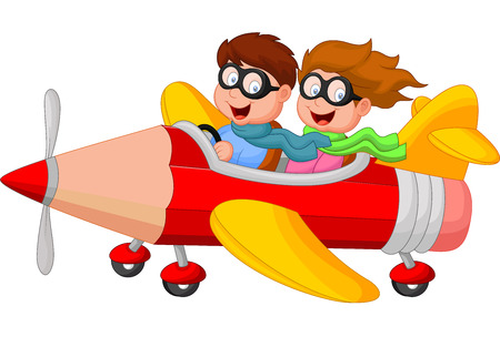 Cartoon Boy and girl on a pencil airplane Vector