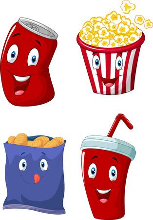 Cartoon Popcorn, frisdrank, frieten en chips