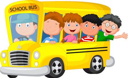 escuelas: Autobús escolar con los niños de dibujos animados feliz