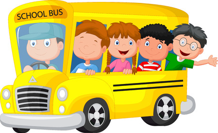 transportation: Autobus scolaire avec des enfants heureux de bande dessinée Illustration
