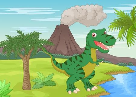 Prehistoric scene with tyrannosaurus cartoon Vector
